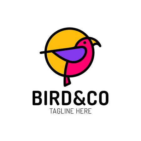 bird logo design with circle shape concept template with linear concept style. vector illustration of bird pigeon in outline, monoline style. Ilustração