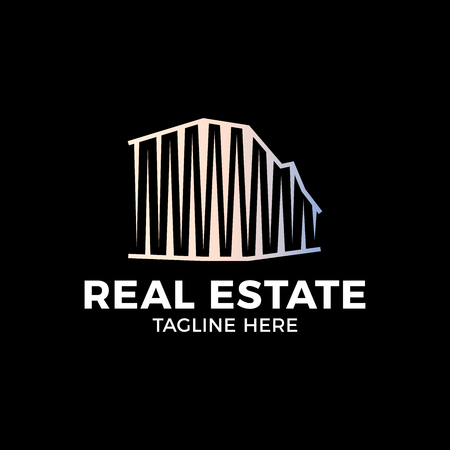 Real Estate Construction Logo design vector template. Commercial office property business center Financial Logotype. Corporate Finance Resort identity icon. Ilustração