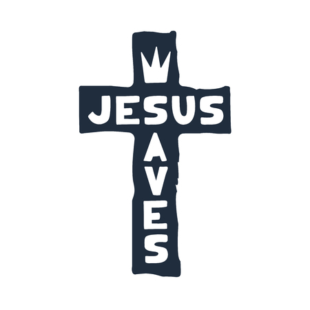 Jesus saves religious lettering brush illustration art design for Christian Bible church t-shirt, print, postcard.