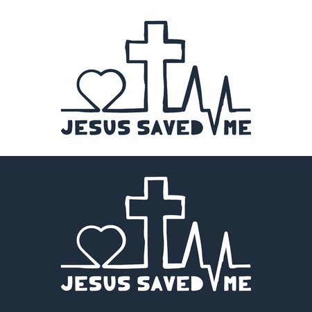 Jesus saved me text with Heartbeat icon and Christian cross. Outline hand draw Heart rate pulse.