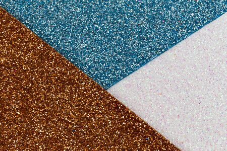 Blue, white and Gold glitter texture abstract background. Shape of the triangle. Banque d'images - 135503184