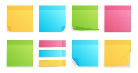Collection of different colored sheets of note papers with curled corner, ready for your message. Realistic vector illustration. Isolated on white background. Front view. Çizim