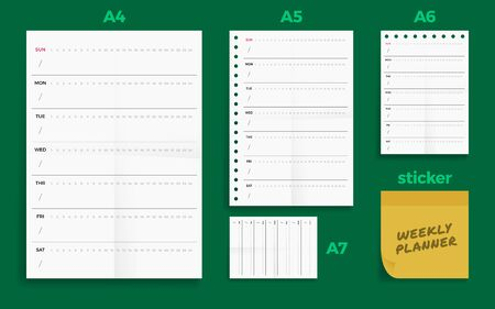 Set of crumpled four Standart blank weekly planner series A format paper A4, A5, A6 and A7 size with note sticker Vettoriali