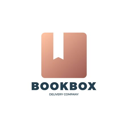 Brown Book Box stock vector logo. Online book store. Digital library. Square and bookmark in negative space.