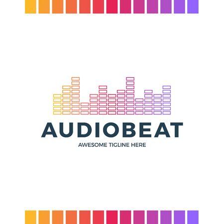 Audio Sound Wave logo template stock vector design. Line abstract music technology logotype. Digital element emblem, graphic signal waveform, curve, volume and equalizer. Vector illustration. Logo