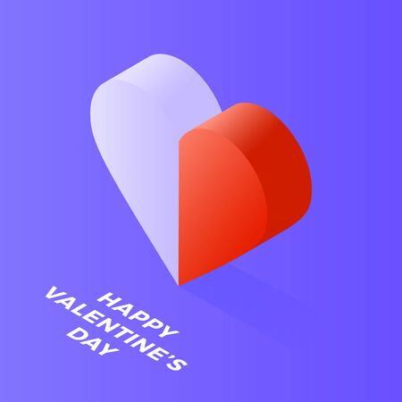 Happy Valentine Day Isometric heart made of two halves, white and red, on blue. Love, peace, harmony, opposites and extremes meet concept. Flat design