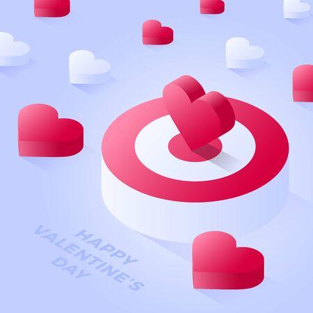 Happy Valentine Day Isometric heart standing on bigger target. Red target or podium vector icon. Isometric red podium vector icons for web design on light background Ilustração Vetorial