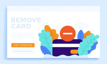 Remove Credit Card Vector stock illustration isolated for landing page or presentation. Bank account closing concept. Termination of the contract. Removing a bank credit card.