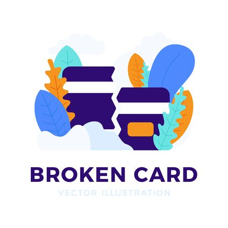 Broken Credit Card Vector stock illustration on white background. The concept of mobile banking and closing a bank account. Concept of losing or deleting a bank card. Иллюстрация
