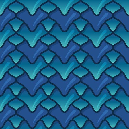 Green and blue Dragon scales. 3d fish scales. Bright seamless pattern with reptilian scales Vetores