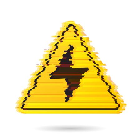 High voltage icon with noise effect or digital glitch. Bolt warning triangular yellow sign. High voltage symbol isolated on white background. Vector illustration. Stock Illustratie