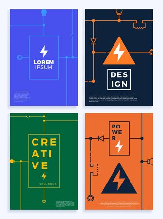 Electricity cover set. Abstract technology circuit board, voltage scheme Vector background illustration. Poster with abstract line shapes. Banners and cover Vector illustration