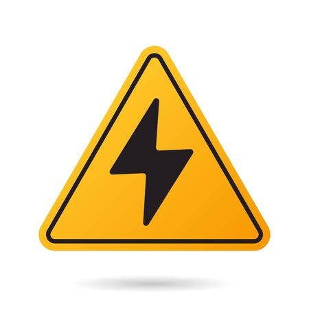 High voltage icon. Bolt warning triangular yellow sign. High voltage symbol isolated on white background. Vector illustration.
