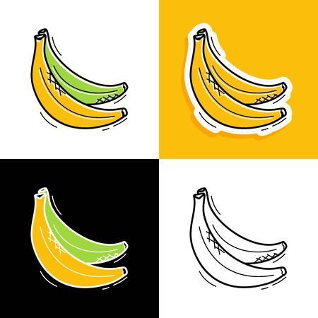 Banana set. Hand drawn doodle banana icon collection Vector illustration for backgrounds, textile prints, menu, web and graphic design Vettoriali