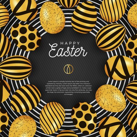Easter egg banner. Easter card with eggs laid out in a circle on a black plate, gold and black ornate eggs on black modern background. Vector illustration. Place for your text. Stockfoto - 138291358