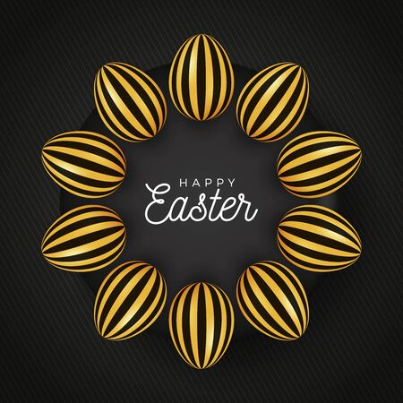 Easter egg banner. Easter card with eggs laid out in a circle on a black plate, gold and black ornate eggs on black striped modern background. Vector illustration. Place for your text Stockfoto - 138291288