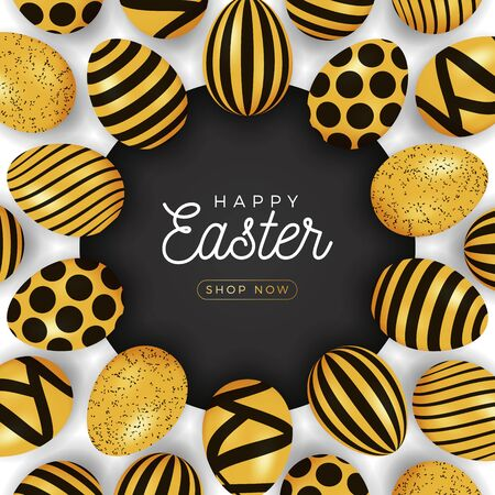 Easter egg banner. Easter card with eggs laid out in a circle on a black plate, gold and black ornate eggs on white modern background. Vector illustration. Place for your text