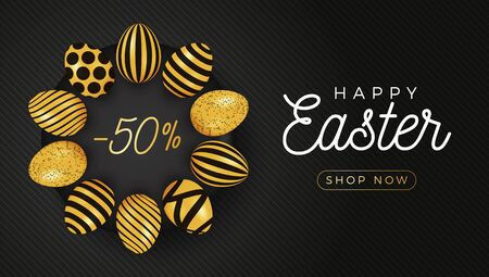 Easter egg horizontal banner. Easter card with eggs laid out in a circle on a black plate, gold and black ornate eggs on black striped modern background. Vector illustration. Place for your text