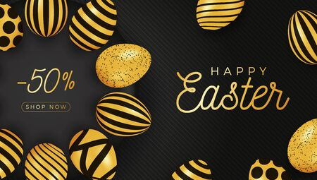 Easter egg horizontal banner. Easter card with eggs laid out in a circle on a black plate, gold and black ornate eggs on black striped modern background. Vector illustration. Place for your text Stockfoto - 138516731