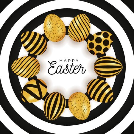 Easter egg banner. Easter card with eggs laid out in a circle on a black plate, gold and black ornate eggs on white circle modern background. Vector illustration. Place for your text Stock Illustratie