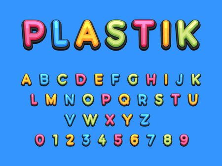 Kids Plastic Cartoon Font. Colorful comics font, child sport alphabet in style of pop art. Multilayer funny colorful letters on comic book page for decoration of children illustrations, posters.