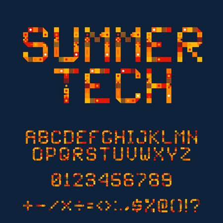 Summer Tech Pixel Font. Vector Pixel Art Alphabet. Hot orange Letters Consist of Modules. Letters from Strips, squares and dots. Geometric Alphabet for Posters like electronic scoreboard Ilustrace