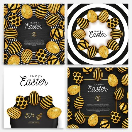 Easter egg banner set. Easter card collection with eggs laid out in a circle on a black plate, gold and black ornate eggs on modern background. Vector illustration. Place for your text. Stockfoto - 139263507
