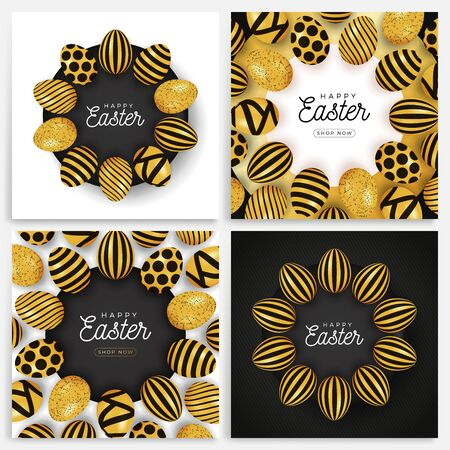 Easter egg banner set. Easter card collection with eggs laid out in a circle on a black plate, gold and black ornate eggs on modern background. Vector illustration. Place for your text. Stockfoto - 139263496