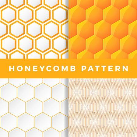 Honeycomb pattern set. Honeycomb vector seamless pattern. Outline hexagon Vector natural honey background.