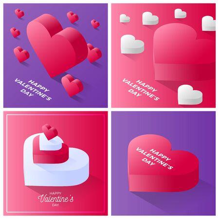 Set di carte di San Valentino. Buon San Valentino Icona del cuore di amore rosso e bianco. Isometrica dell'icona di vettore del cuore rosso di amore per lo sfondo del web design Vettoriali