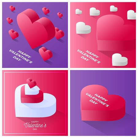 Valentine day card set. Happy valentine day Red and white love heart icon. Isometric of red love heart vector icon for web design background