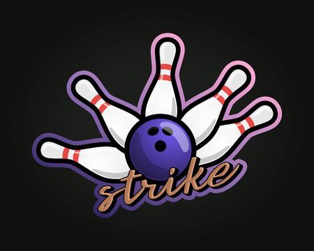 Bowling strike vector sport Typography sticker illustration in retro style. Vector design emblem, badge and sporty template design Ilustração Vetorial