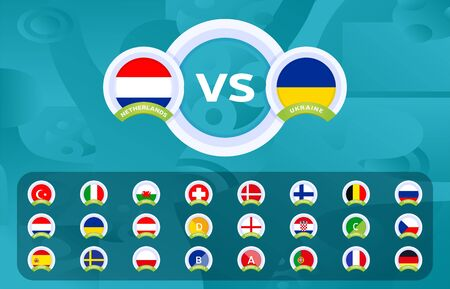 Football 2020 Sport vs versus templates for the Football Championship 2020 vector stock set with country flag. Design backgrounds and brand elements Ilustracja