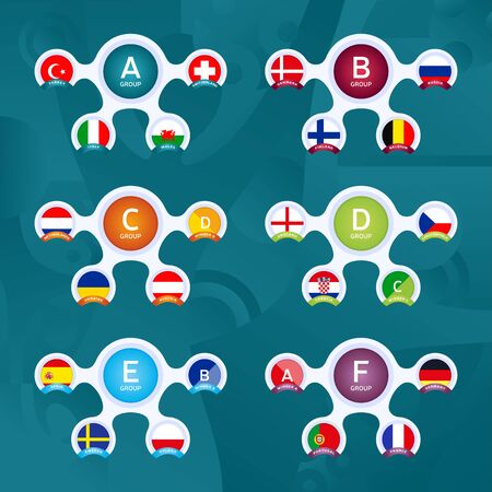 Creative European football 2020 tournament final stage groups vector stock illustration. 2020 European soccer tournament with background. Vector country flags. Ilustracja