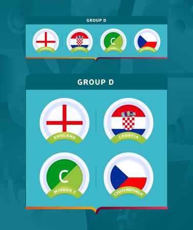 Football 2020 tournament final stage group A vector stock illustration. 2020 European soccer tournament with background. Vector country flags