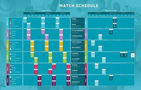 Phase finale du tournoi de football 2020 Calendrier des matchs, modèle pour le web, impression, tableau des résultats du football, drapeaux du championnat de football des pays européens 2020, illustration vectorielle.