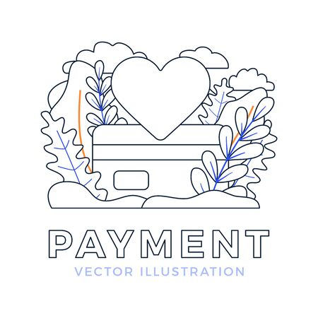 Heart sign and Credit Card Vector stock illustration. Outline style Payment illustration for landing page or presentation. The concept of payment of love or promotion in social networks. Like cheat.