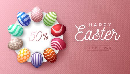 Easter egg horizontal banner. Easter card with colorful eggs laid out in a circle on a white plate, color ornate eggs on rose gold striped modern background. Vector illustration. Place for your text.