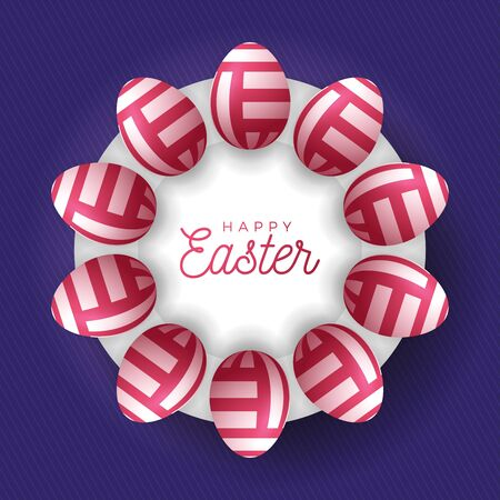 Easter egg banner. Easter card with eggs laid out in a circle on a white plate, red or pink ornate eggs on purple modern background. Vector illustration. Place for your text Stock Illustratie