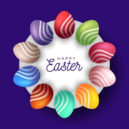 Easter egg banner. Easter card with eggs laid out in a circle on a white plate, colorful ornate eggs on purple modern background. Vector illustration. Place for your text. Stockfoto - 140511812