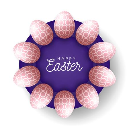 Easter egg banner. Easter card with eggs laid out in a circle on a purple plate, rose gold ornate eggs on white modern background. Vector illustration. Place for your text. Stock Illustratie