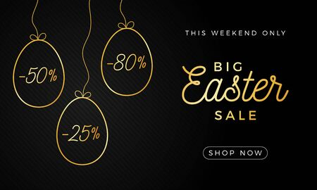Easter egg horizontal banner. Easter card with hand draw eggs, gold and black ornate eggs on black striped modern background. Vector illustration. Place for your text.