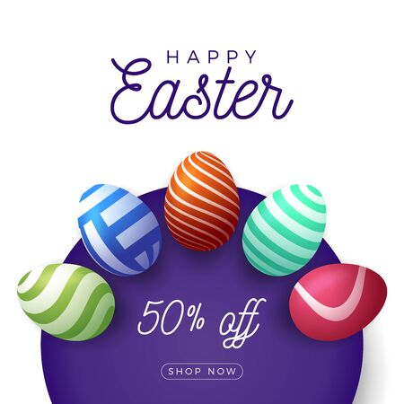 Easter egg banner. Easter card with eggs laid out in a circle on a purple plate, colorful ornate eggs on white modern background. Vector illustration. Place for your text. Stockfoto - 140513709
