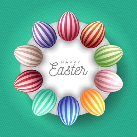 Easter egg banner. Easter card with eggs laid out in a circle on a white plate, colorful ornate eggs on fresh green modern background. Vector illustration. Place for your text Stock Illustratie