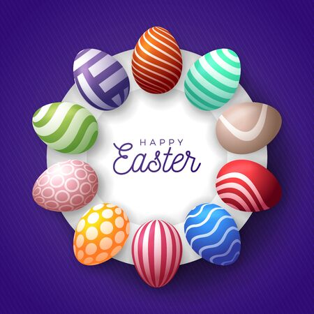 Easter egg banner. Easter card with eggs laid out in a circle on a white plate, colorful ornate eggs on purple modern background. Vector illustration. Place for your text.