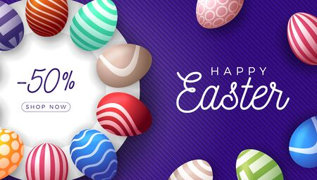Easter egg horizontal banner. Easter card with colorful eggs laid out in a circle on a white plate, color ornate eggs on purple striped modern background. Vector illustration. Place for your text. Stock Illustratie