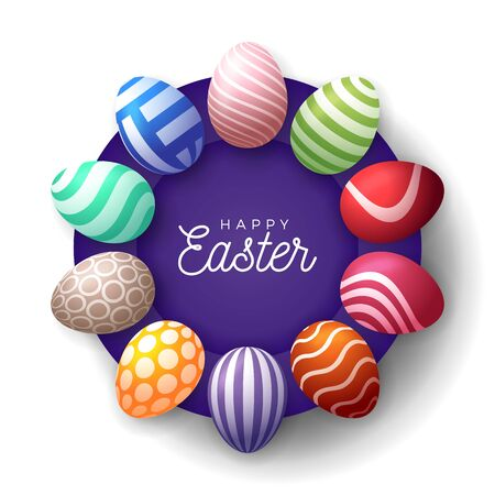 Easter egg banner. Easter card with eggs laid out in a circle on a purple plate, colorful ornate eggs on white modern background. Vector illustration. Place for your text.