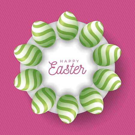 Easter egg banner. Easter card with eggs laid out in a circle on a white plate, green ornate eggs on pink modern background. Vector illustration. Place for your text. Stockfoto - 140513715