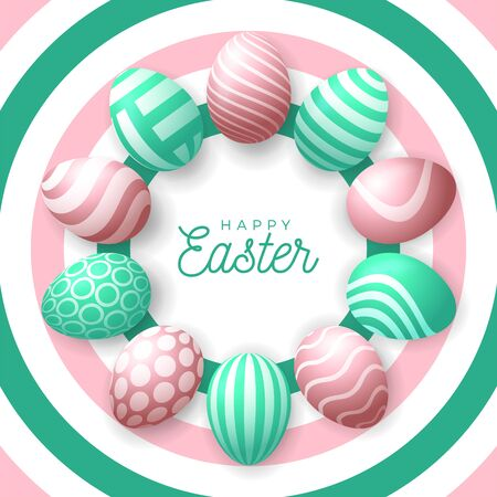 Easter egg banner. Easter card with eggs laid out in a circle, green and rose gold ornate eggs on fresh modern background. Vector illustration. Place for your text. Stockfoto - 140513717
