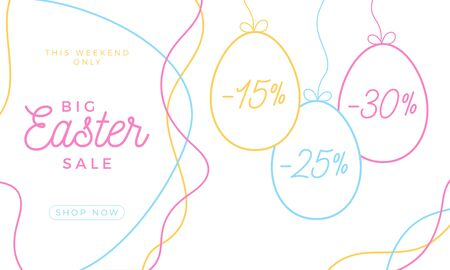 Easter egg sale horizontal banner. Easter card with hand draw eggs, colorful ornate eggs on white modern background. Vector illustration. Place for your text
